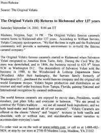 Velatis Caramels Press Release